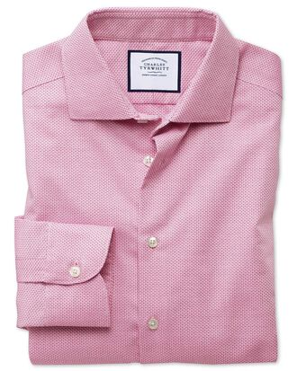 Classic fit semi-spread collar business casual non-iron modern textures pink shirt