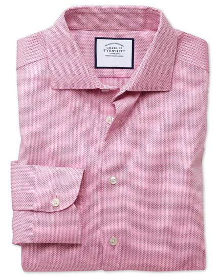 Slim fit semi-cutaway business casual non-iron modern textures pink shirt