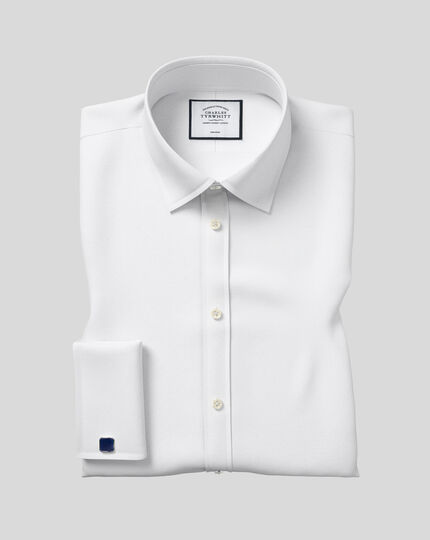 Classic Collar Non-Iron Poplin Shirt  - White
