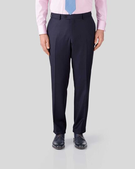 Birdseye Half Canvas Suit Trousers - Ink Blue
