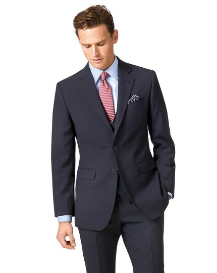Navy slim fit herringbone business suit jacket