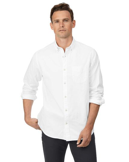 Classic fit white button-down washed Oxford plain shirt