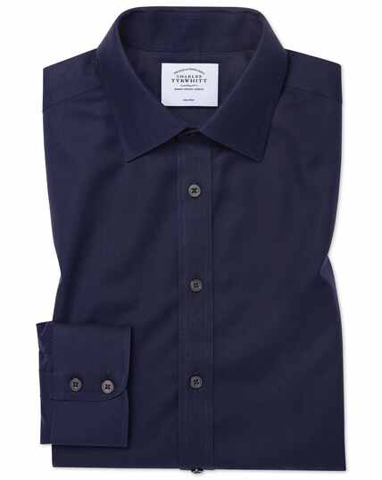 Classic fit navy non-iron twill shirt
