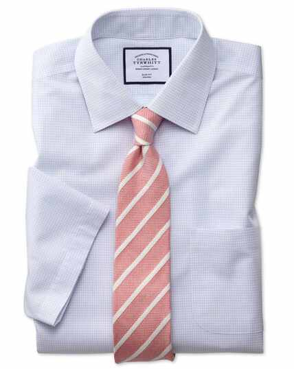 Non-Iron Micro Check Short Shirt Sleeve Shirt - Blue