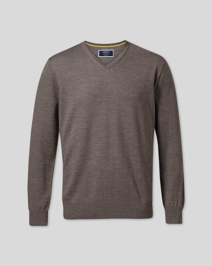 Merino V-neck Sweater - Mocha