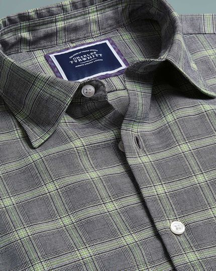 Cotton With Tencel™ Prince Of Wales Check Shirt - Grey And Green
