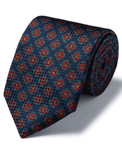 Navy silk medallion print textured English luxury tie