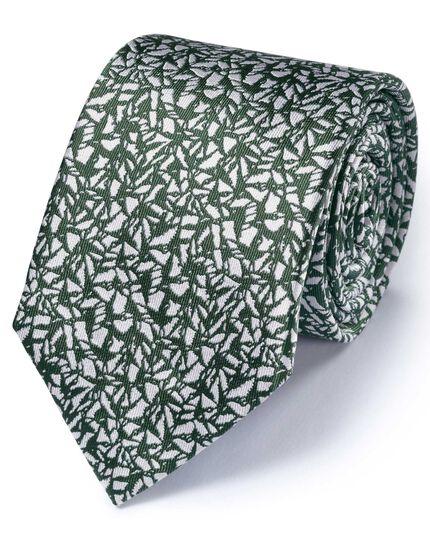Cravate classique kaki à motifs abstraits en soie texturée