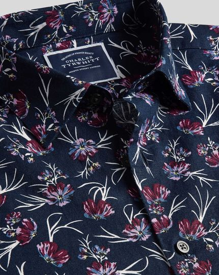 Classic Collar Anemone Print Shirt - Navy