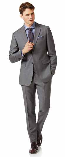 Grey slim fit twill business suit