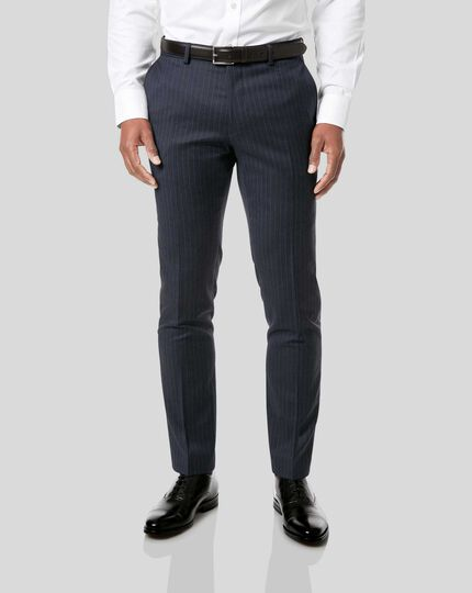 Italian Stripe Suit - Dark Blue