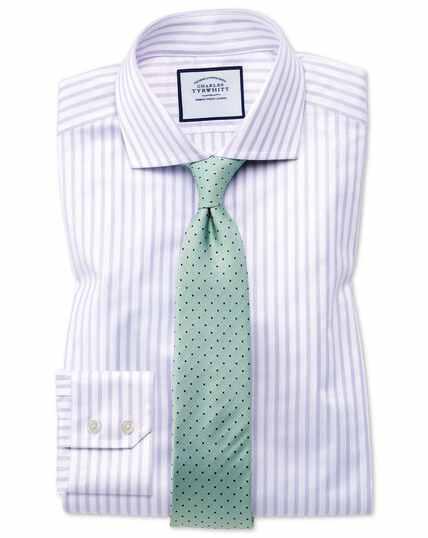 Extra Slim Fit Hemd mit Haifischkragen aus Strukturgewebe  in Flieder und Weiß