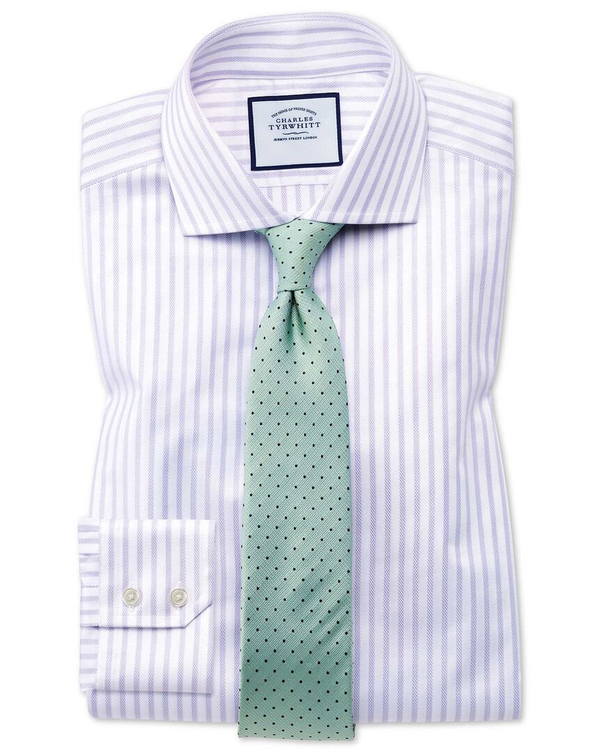Extra slim fit spread collar textured stripe lilac and white shirt