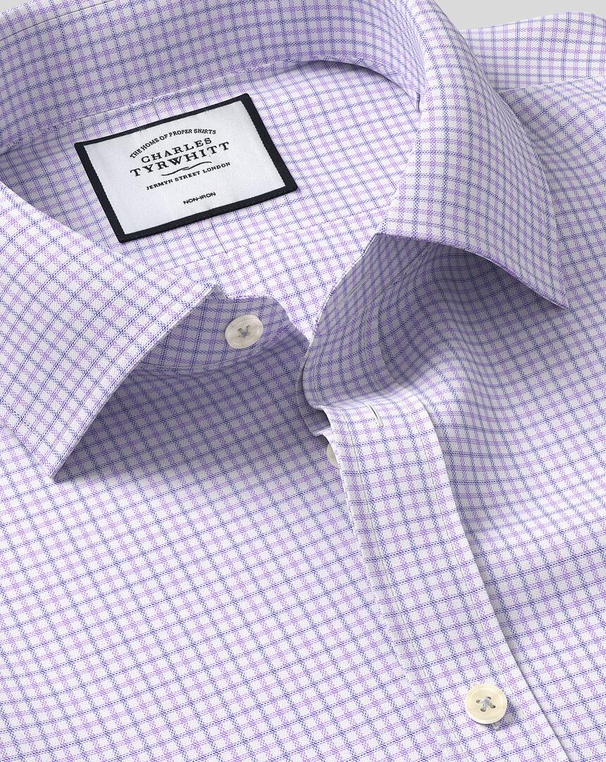 Classic Collar Non-Iron Twill Check Shirt - Lilac