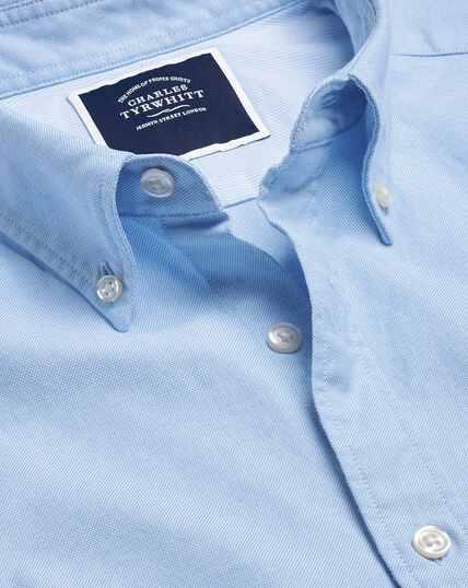 Vorgewaschenes Oxfordhemd mit Button-down-Kragen - Himmelblau