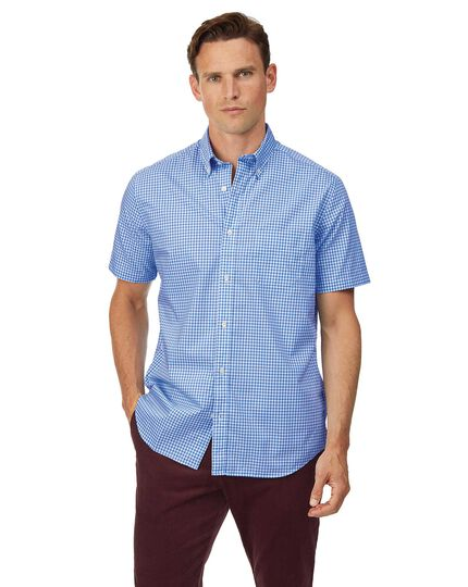 Classic fit short sleeve soft washed non-iron stretch poplin gingham sky blue shirt