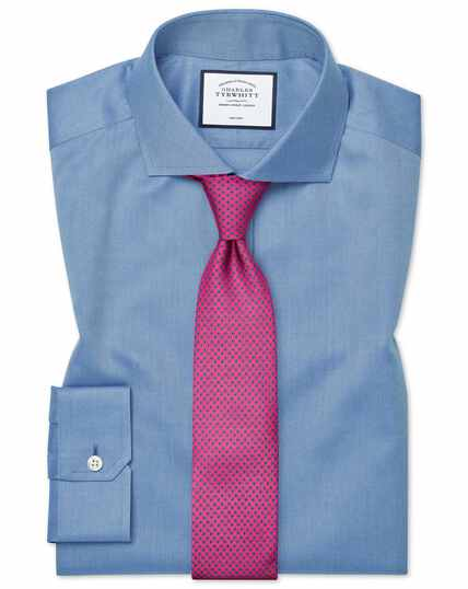 Super slim fit cutaway collar non-iron twill blue shirt