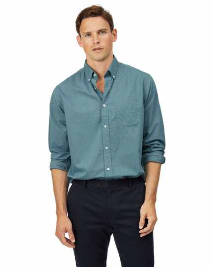 Classic fit green soft washed stretch plain shirt