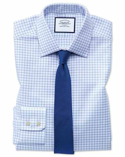 Extra slim fit Egyptian cotton royal Oxford sky blue check shirt