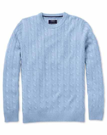 Sky blue Pima cotton cable crew neck sweater