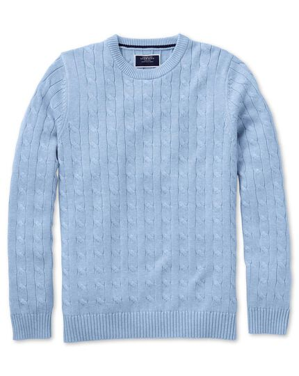 Sky blue Pima cotton cable crew neck jumper