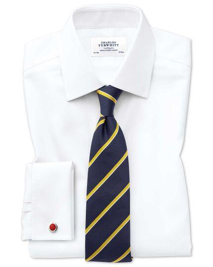 Slim fit non-iron square weave white shirt