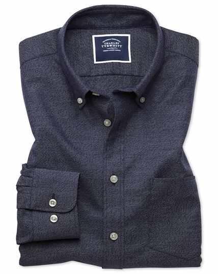 Chemise bleu marine unie en twill slim fit à délavage doux sans repassage