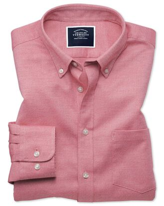 Classic fit light red plain soft washed non-iron twill shirt