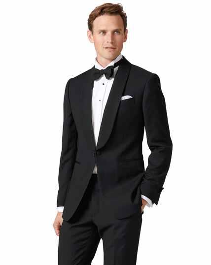 Veste de costume de soirée noire extra slim fit à col châle