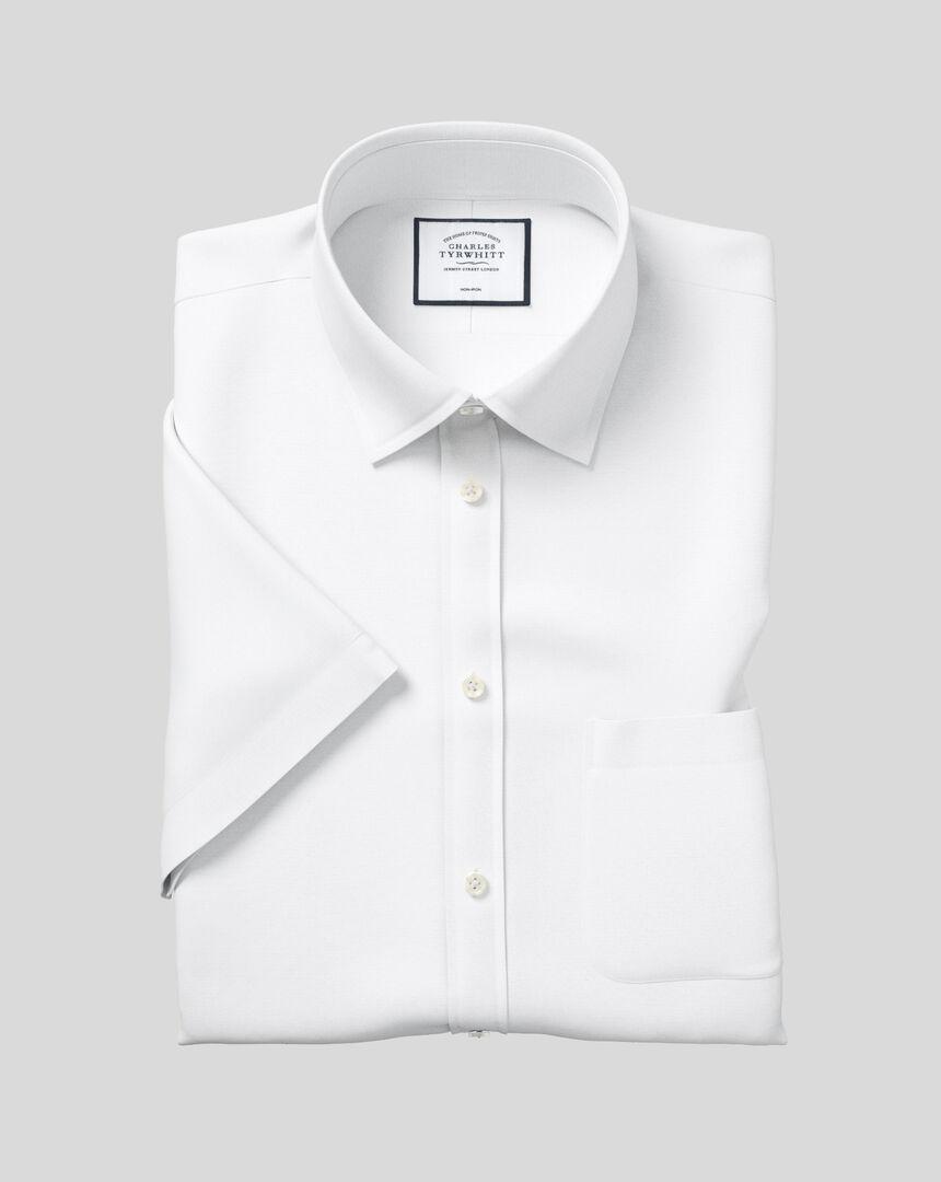 Bügelfreies Tyrwhitt Cool Popeline-Kurzarmhemd mit Kent-Kragen- Weiß