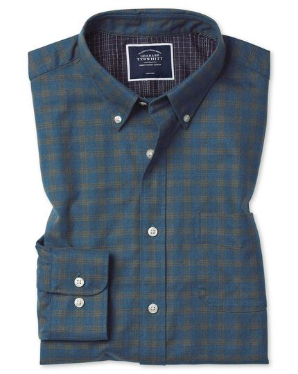 Slim fit soft washed non-iron twill teal check shirt