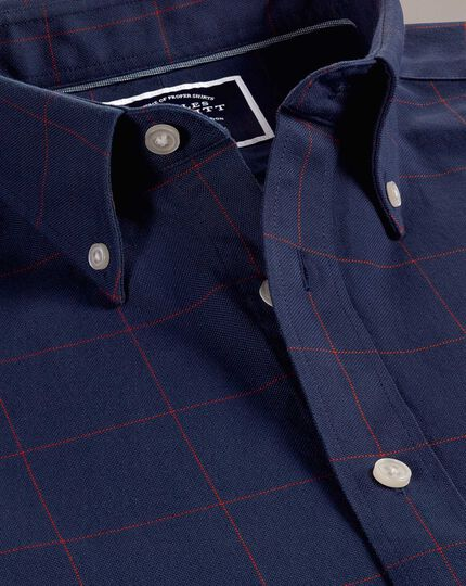 Slim fit navy and red check washed Oxford shirt