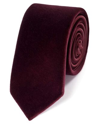Burgundy velvet luxury slim tie
