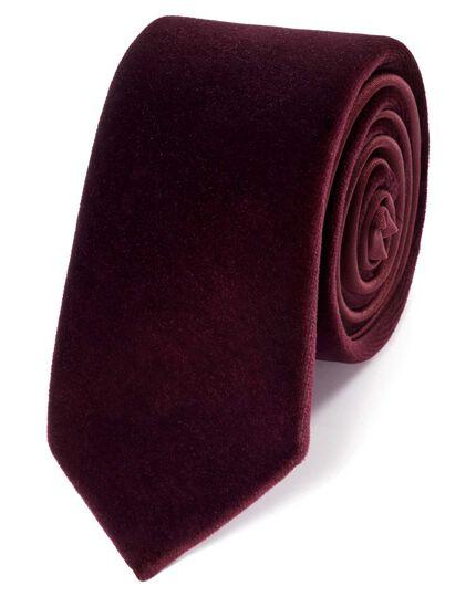 Burgundy velvet luxury slim tie