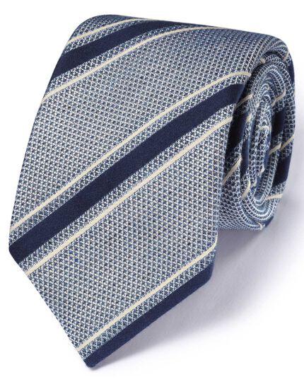 Blue and white silk mix Italian luxury stripe grenadine tie
