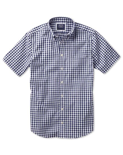 Non-Iron Gingham Short Sleeve Shirt - Navy