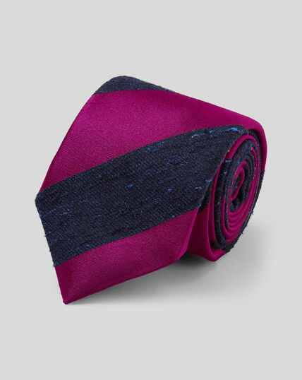 Silk Stripe English Heritage Luxury Tie - Pink & Navy