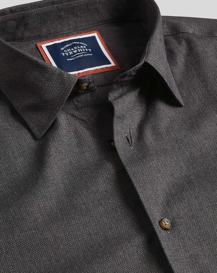 Classic Collar Textured Shirt - Charcoal