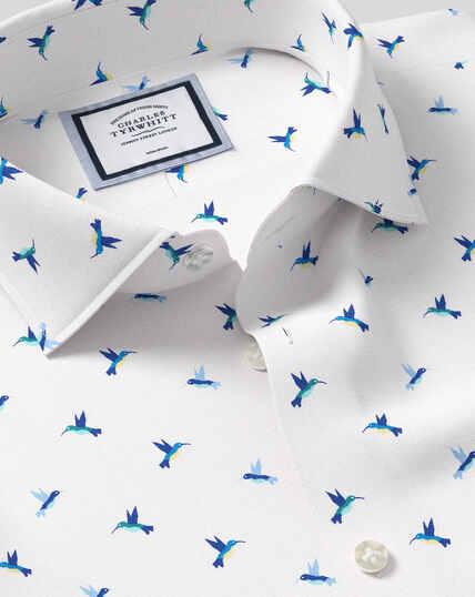 Business Casual Collar Non-Iron Hummingbird Printed Shirt - Teal