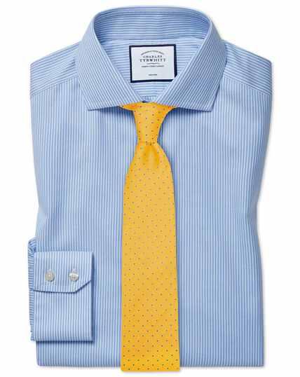 Extra slim fit cutaway collar non-iron cotton stretch Oxford sky blue stripe shirt