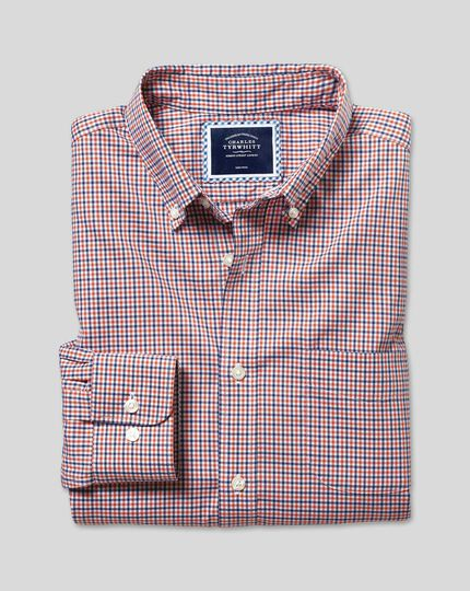 Button-Down Collar Non-Iron Stretch Oxford Gingham Shirt - Orange Multi