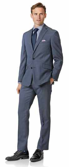 Costume business bleu acier en laine mérinos slim fit