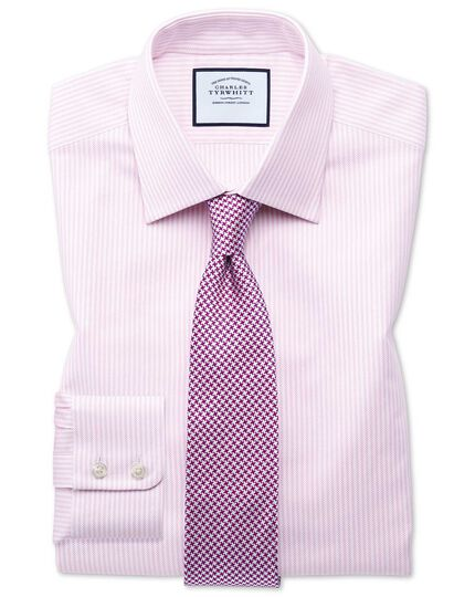 Slim fit Egyptian cotton royal Oxford pink and white stripe shirt