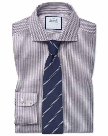 Slim fit cutaway collar non-iron cotton stretch berry shirt