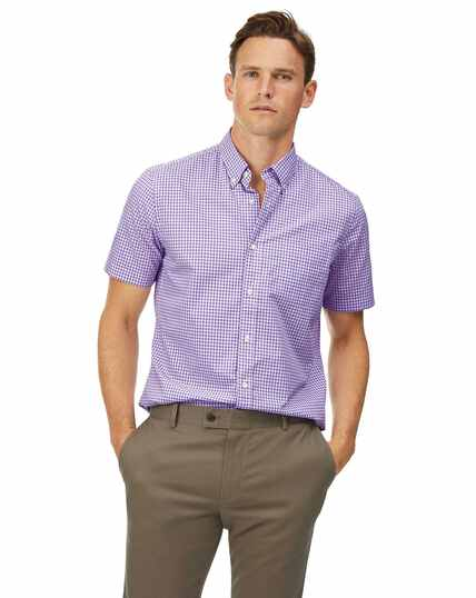 Slim fit lilac short sleeve gingham soft washed non-iron stretch poplin shirt