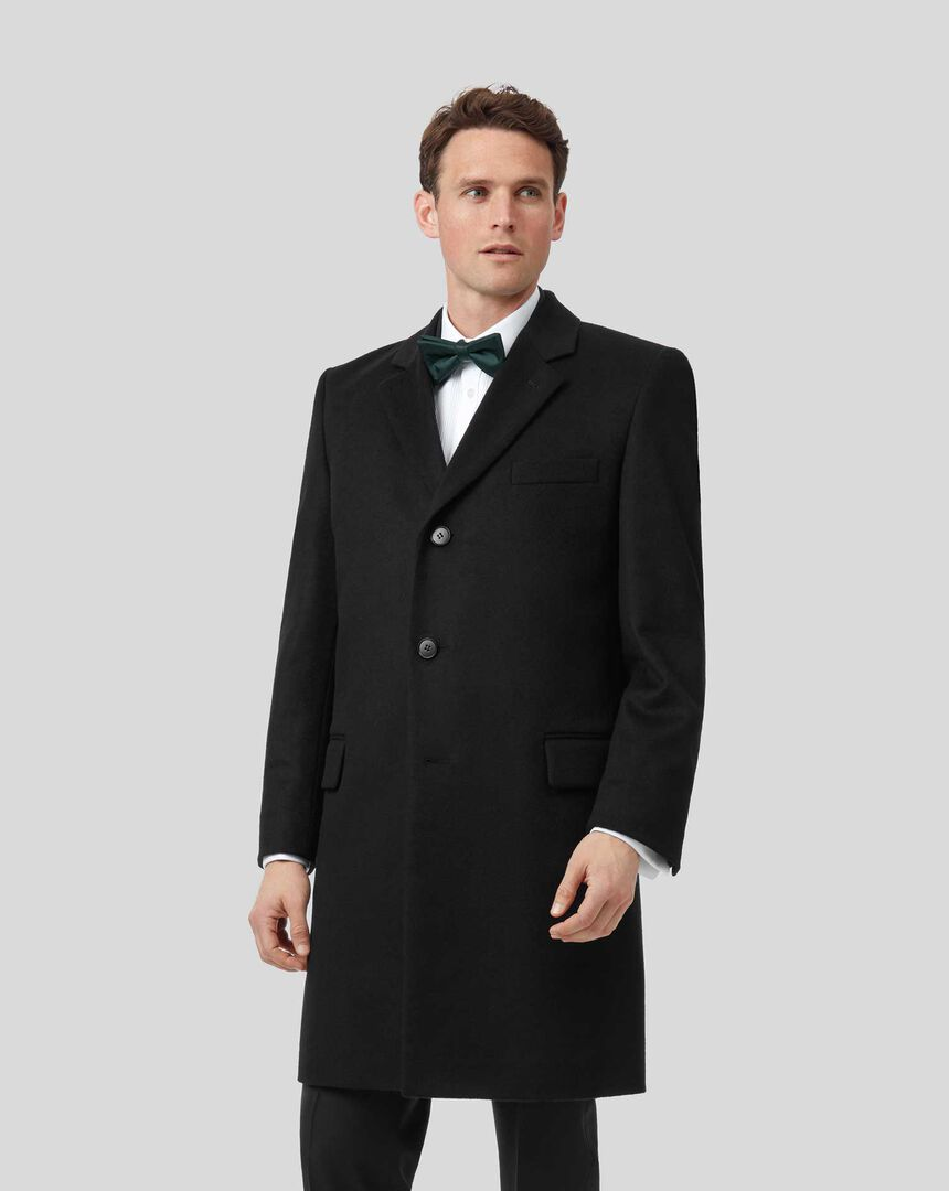 Italian Wool Cashmere Overcoat - Black