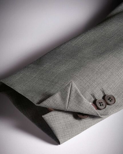 Silver classic fit cross hatch weave italian suit jacket