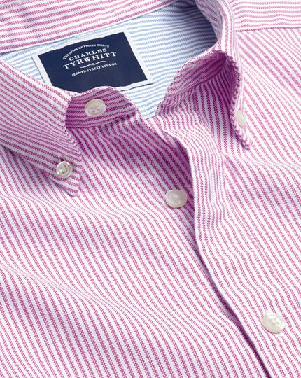 Button-Down Collar Washed Oxford Bengal Stripe Shirt - Berry & White
