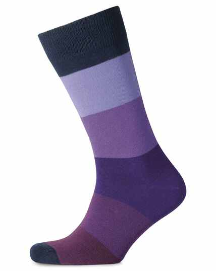 Purple block stripe socks