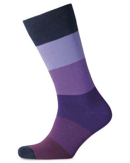Purple block stripe socks